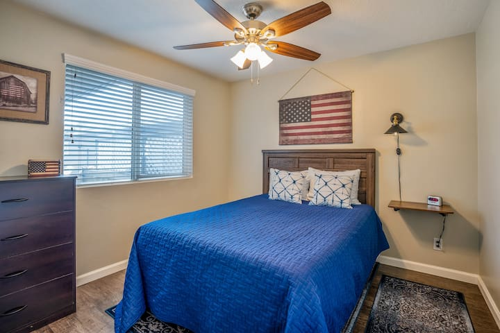 Your third bedroom features a full-sized bed with digital alarm clock, dresser and plenty of closet space.
