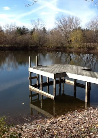 The dock out on the pond is a nice place for breakfast or just a glass of wine in the afternoon