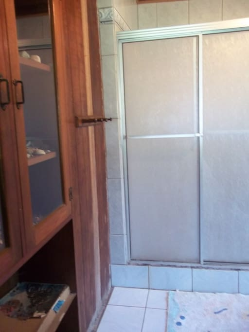 shower in the bathroom of teak house