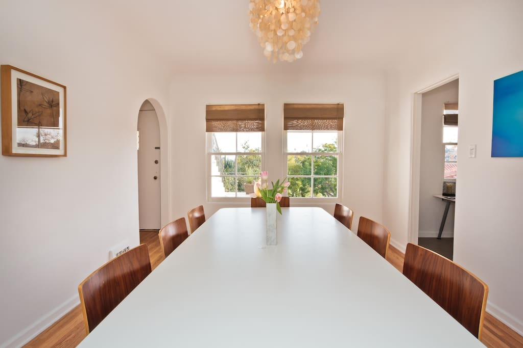 Dinning Room with views of silverlake hills all of the way to Pasadena mountains