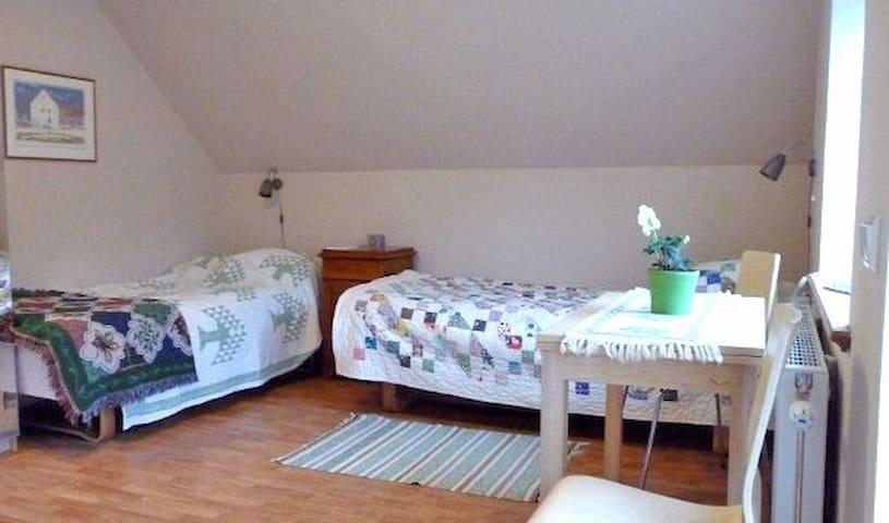 Comfortable beds in guest room.