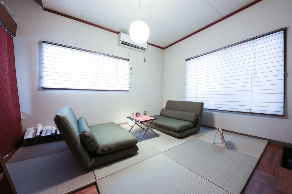 2 green sofas on Tatami (Japanese Traditional Flooring)#2