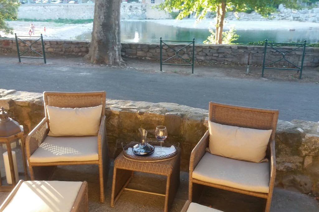 Terrace overlooking the river Cesse