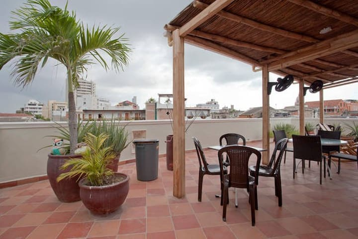 Rooftop terrace - a great place to relax, eat, drink, enjoy the sun and meet other guests.