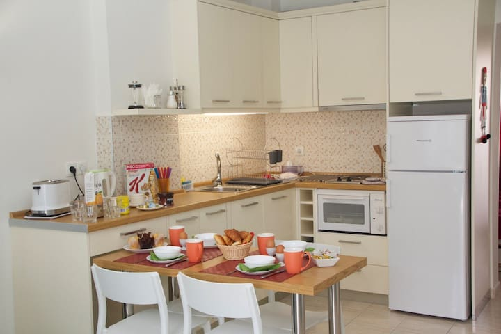Open kitchen. Fully equipped with cooker, oven, large fridge, toaster, etc.