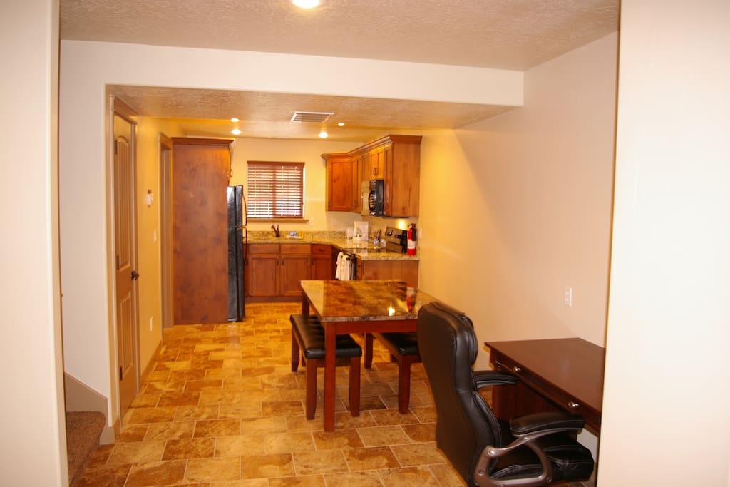 Beautiful spacious kitchen, dining and work space.