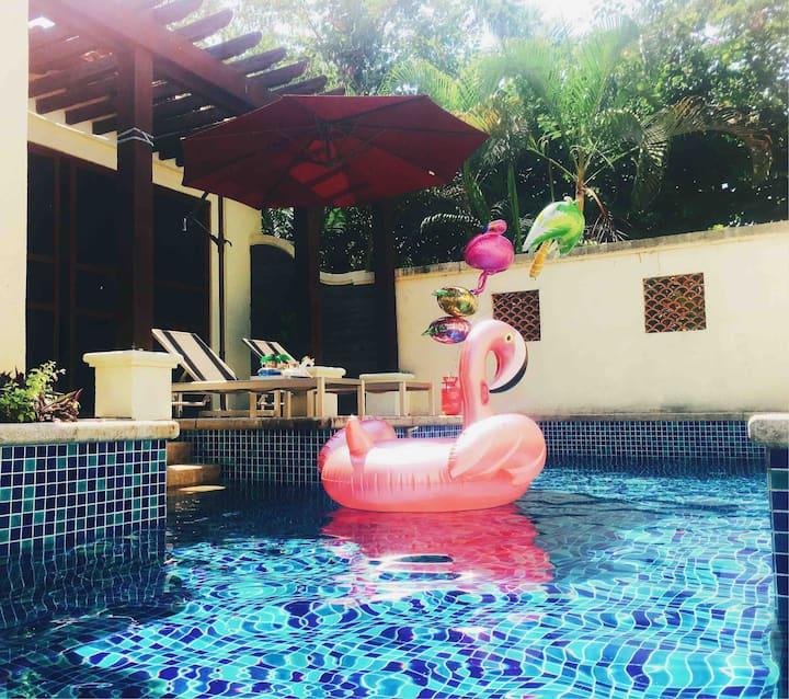海棠湾巴厘岛风格独栋泳池【奢ins风】两卧套房泳池别墅-私家海滩&高端私密&适合情侣家庭&摩洛哥浴缸