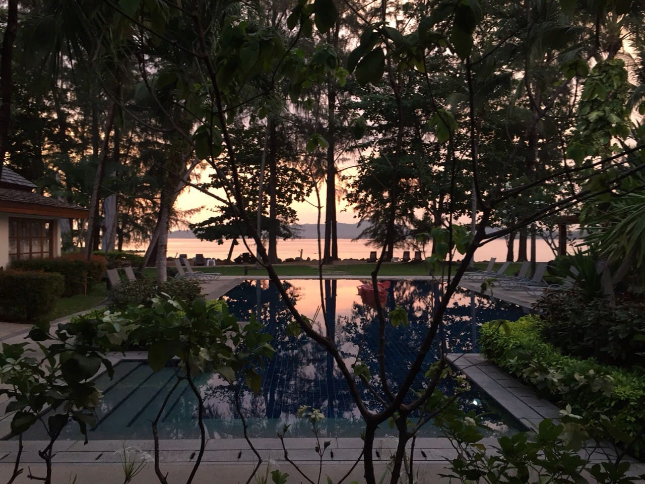Sunset over Bang Tao Beach from Baan Chai Nam poolside