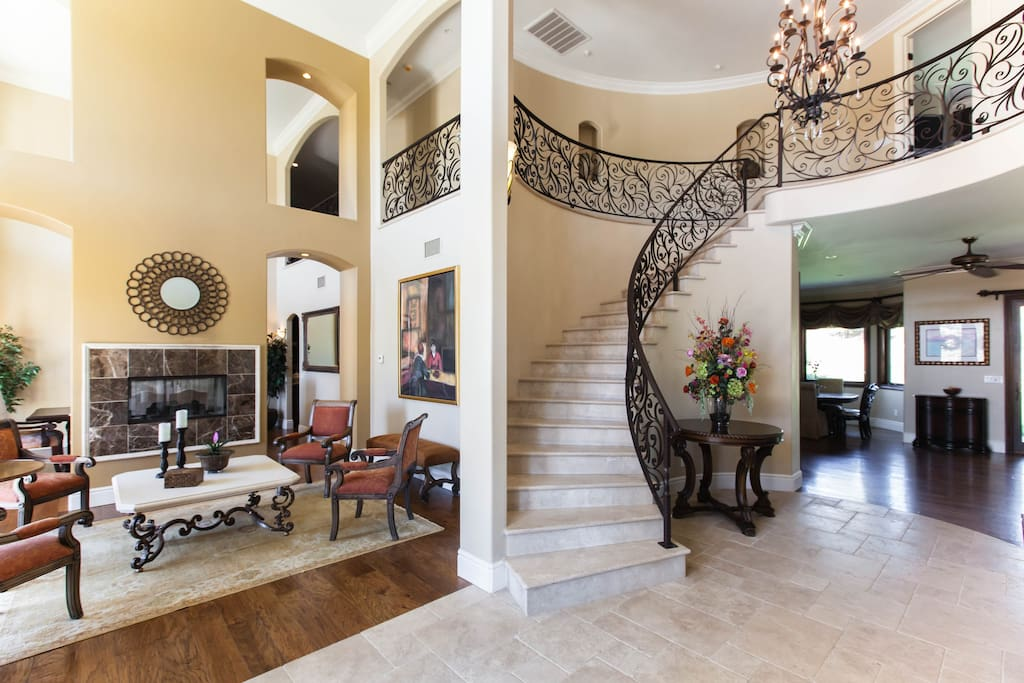 Elegant formal living room and staircase