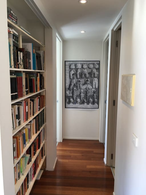 The hallway leading to the master bedroom