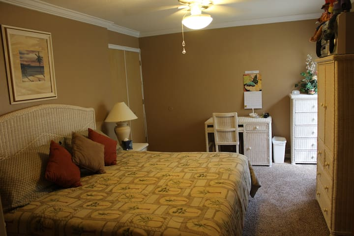 King Bedroom with desk for your lap top, television with cable,