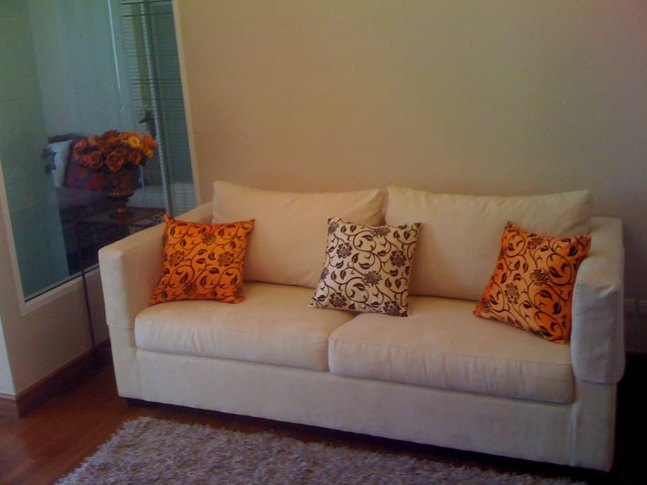 Living Room with flat screen cable TV and DVD Player, you can enjoy from this sofa