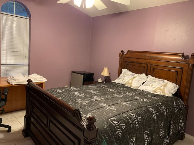 UTD, Hwy75, George Bush, queen bed, desk, fridge