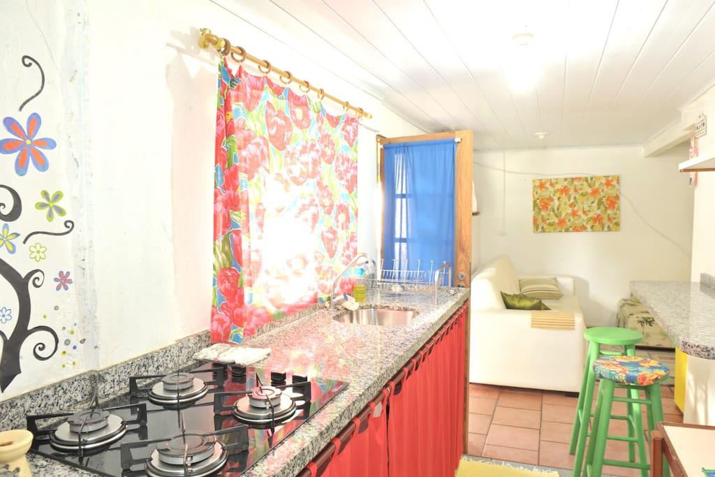 cozinha e living room