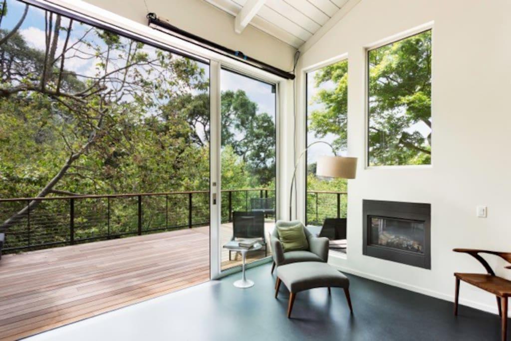 Indoor outdoor living with expansive 11ft sliding glass doors