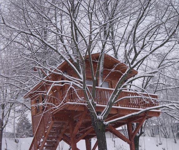Facciata innevata della casetta sull'albero