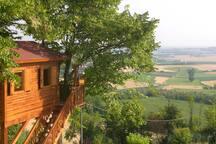 Casetta sull'albero con vista sulle colline del Monferrato. Carrucola con box per la colazione.