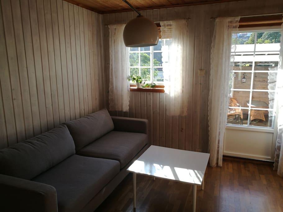 Stue med utgang til hage og hagestue som disponeres av leiligheten.
