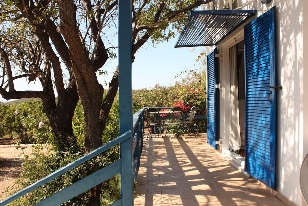 the front bedroom facing the veranda and shaded by the almond tree
