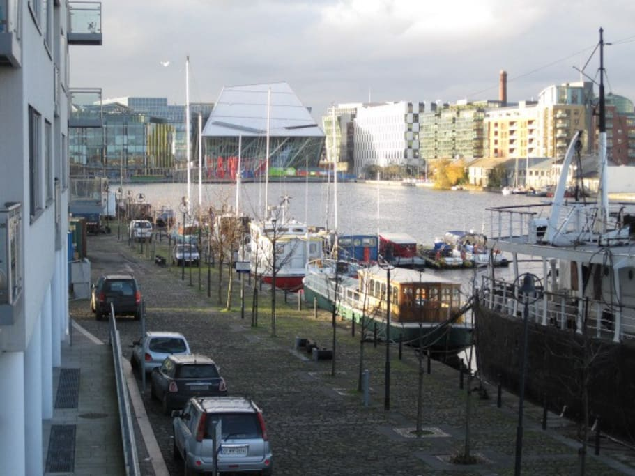 View from the apartment towards Grand canal square