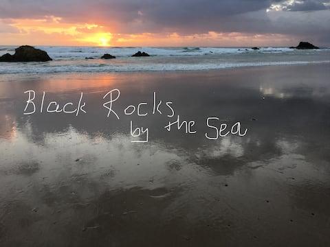 Black Rocks by the Sea