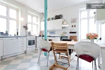 The kitchen with the balcony on the right side
