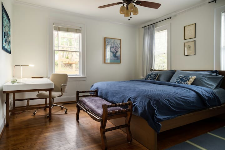 Master bedroom with king size mattress many ask about.