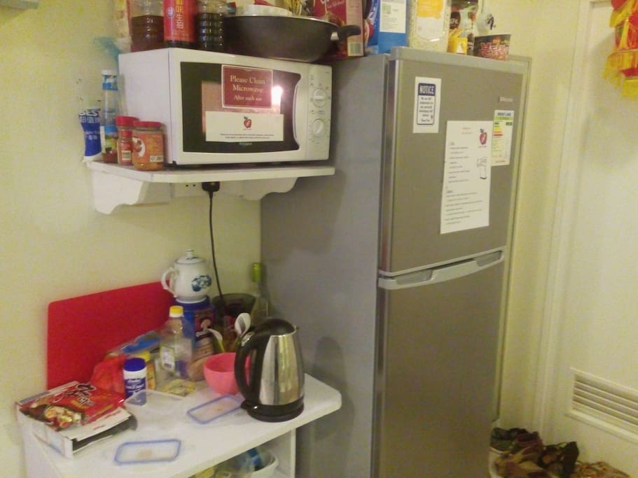 Shared Microwave, fridge and kettle