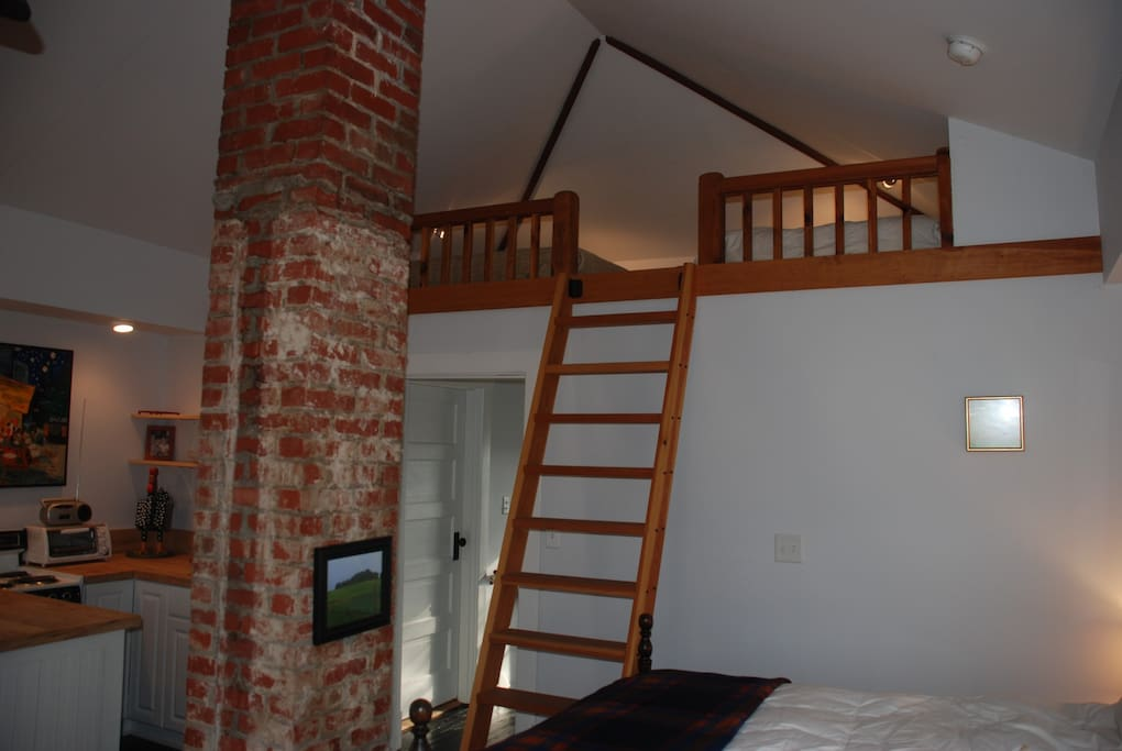 View of main room with ladder to sleeping loft, kitchen in the background.