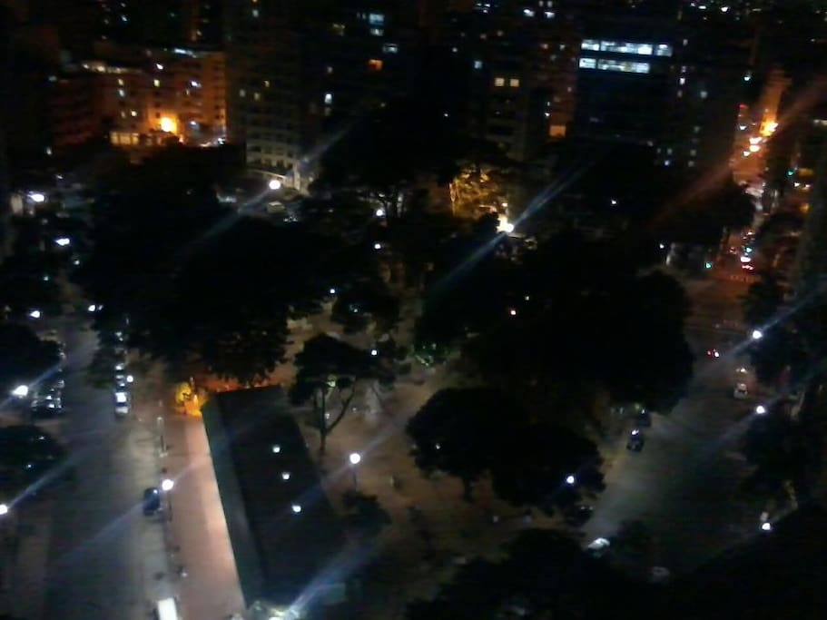 Nocturnal view of the square on which the apartment is located