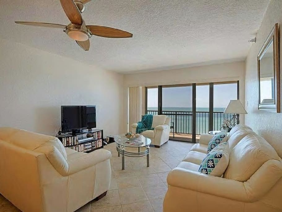 Living room features awesome Gulf views, TV, DVD, Cable /TV, free WiFi