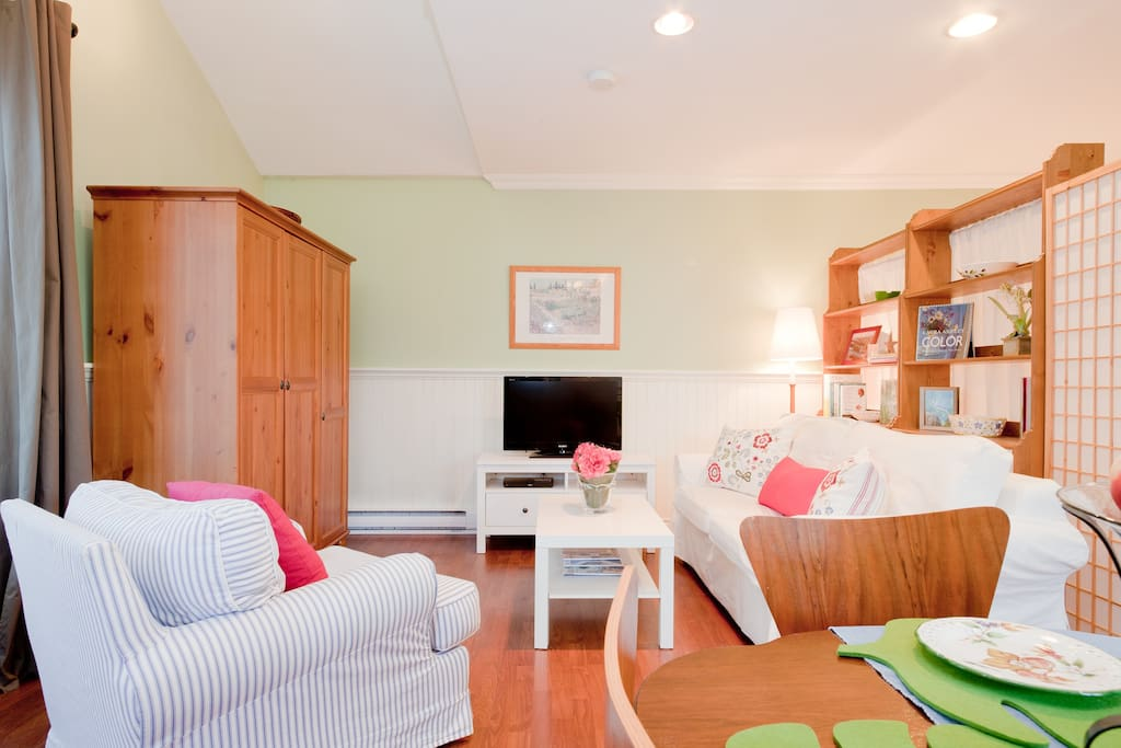 Seating area with flat screen TV