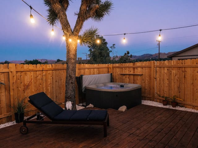 Hot tub under the stars or string lights