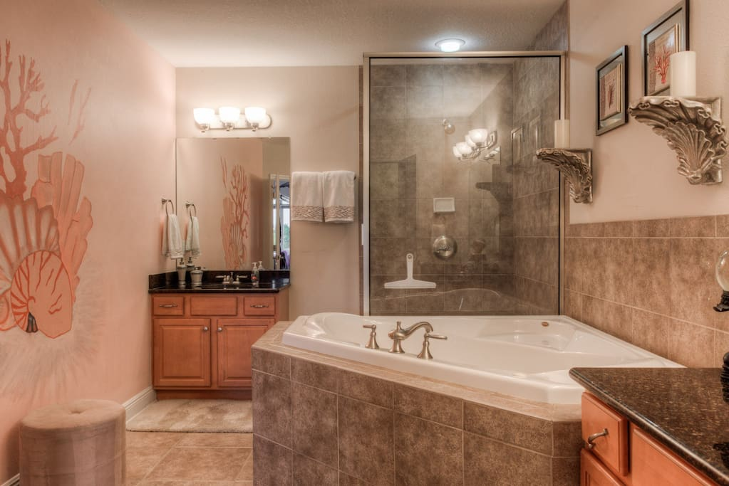 Master bathroom boasts shower and jetted tub with 2 sinks