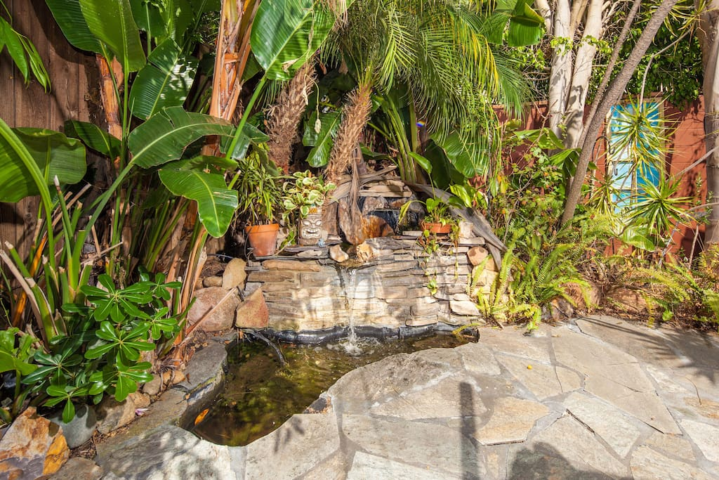 Outdoor patios connect with the sound of running water