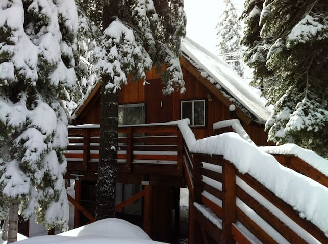 Cozy A-frame studio cabin with large deck