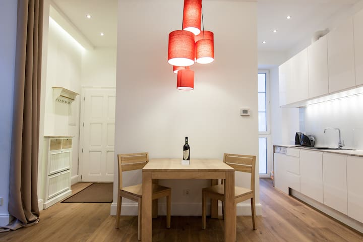 dining table and welcome wine bottle