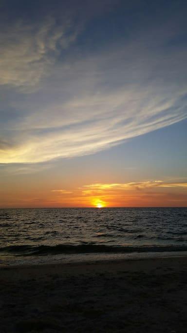 Drum Circle every Wednesday and Saturday, Sunsets every evening at Nokomis Beach.