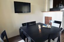 Upper level dining table  - lower level has the same dining table