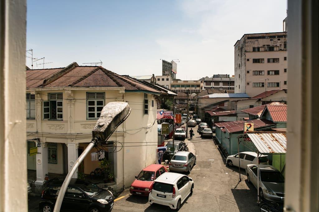 View of the bustling Jalan Penang in the horizon.