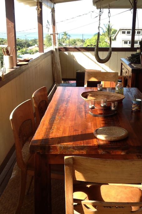 one of 2 Lanai Dinner Tables that offer  cool ocean breeze