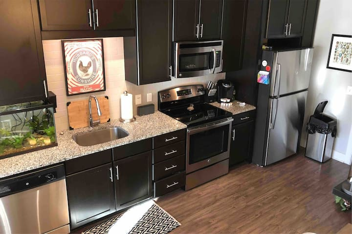 Downtown Skyline view! Deluxe 1BR, Large bath.