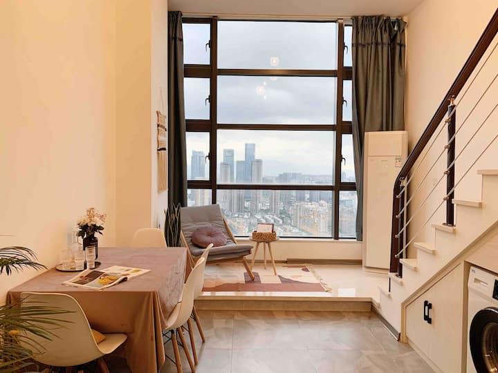 SaltHouse 上下杭/三坊七巷/达道地铁站 复式Loft落地窗高层阳光公寓