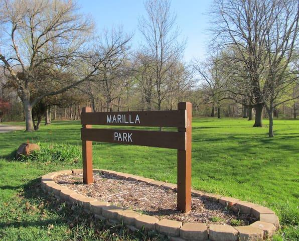 Hike-Bike-Run, picnic, fish, or play frisbee golf in Marilla Park.