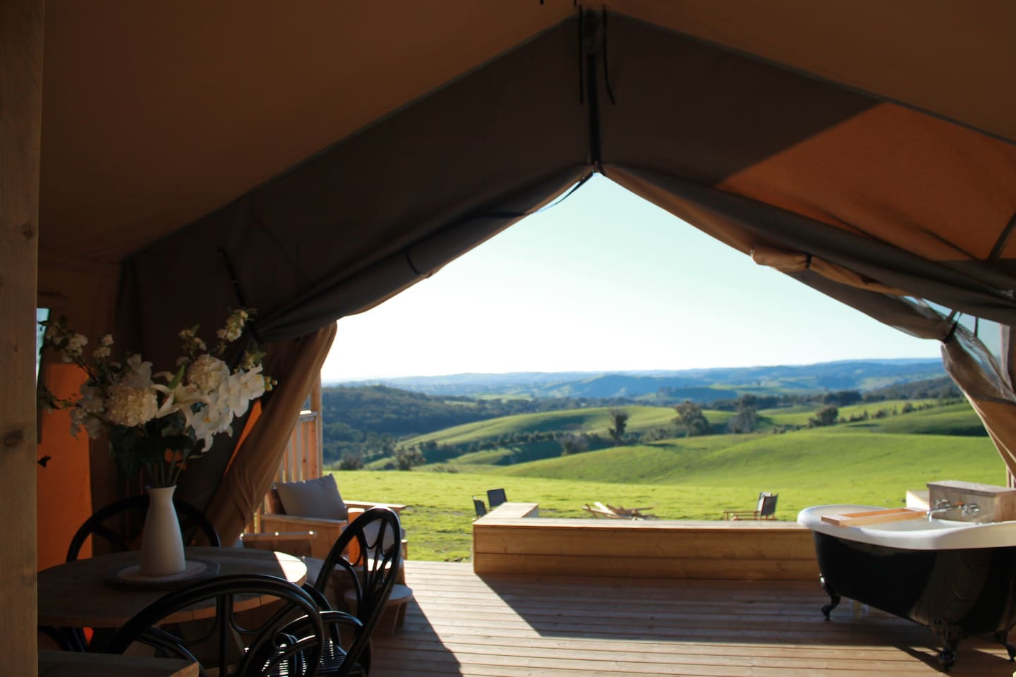 Lookout to undulating hills from bed