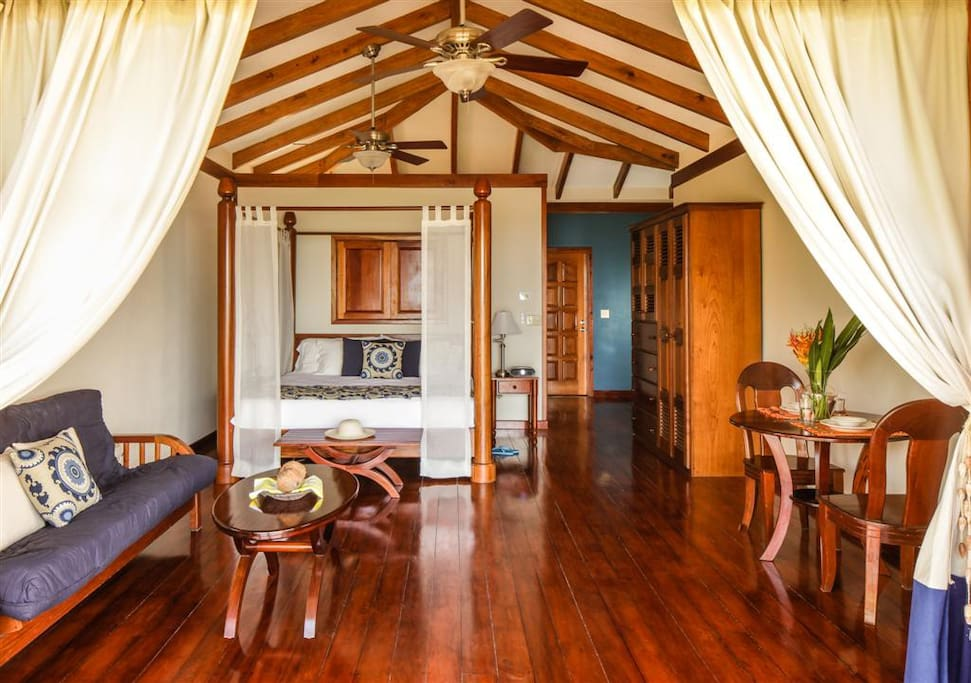 The Beach Loft all have king-sized beds, 2 balconies, vaulted ceilings and sitting area.