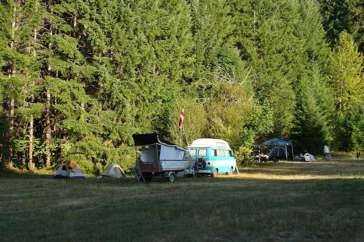 The upper meadow, an open grassland with multiple tent sites and large communal fire pit in center is surrounded by a colliseum of second and old growth trees serves as campground sites for both tent, Camper and RV's