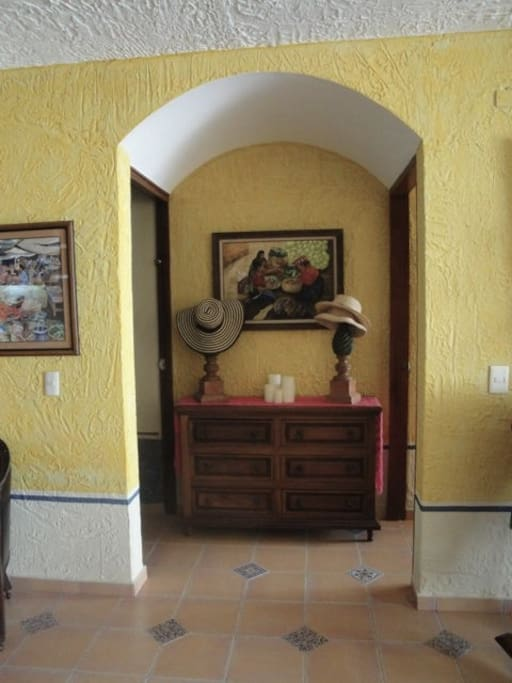 Hall to two bedrooms.  Beautiful Mexican Decor