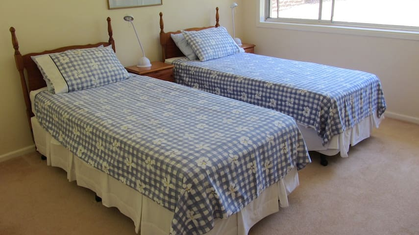The King size bed split into two singles.