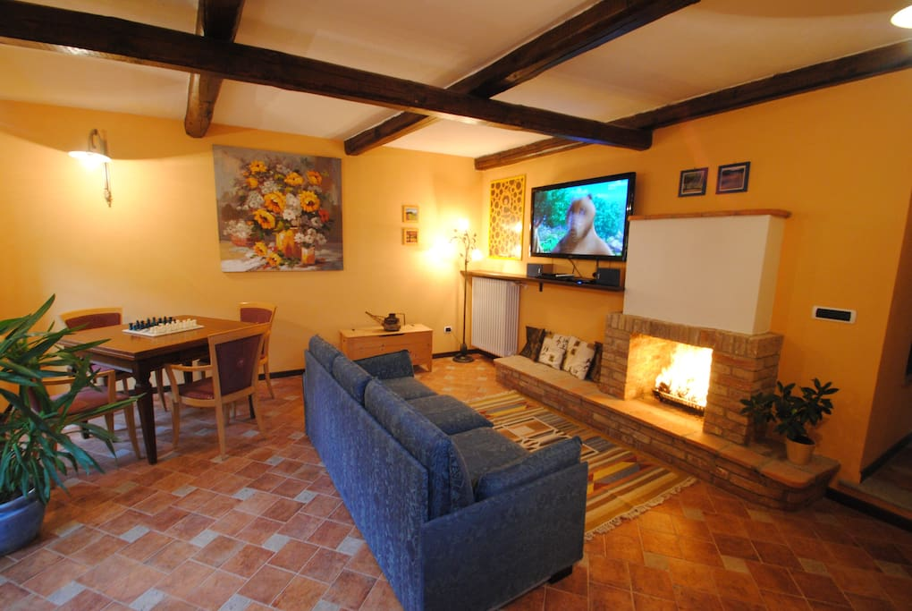 The Living Room with the Double Sofa Bed Fireplace and flat screen Plasma Tv